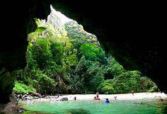 Tham Morakot (Emerald Cave) - Trang Islands you swim in the dark and emerge in a lagoon