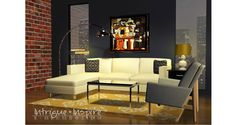 Our e-decorating 3-D rendering for a mid-century modern style studio in downtown San Diego.  www.intrigueandinspireedecor.com