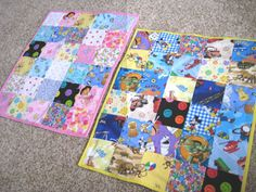 I Spy Quilts.  I made some like this for my children this year for Christmas.  I used scraps from both their grandma's sewing collections.