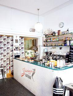 Skaningen Kaffebar cafe in stockholm from mjölk book, via herriott grace. My Coffee Shop, Coffee Cafe, Coffee Shops, Café Restaurant, Restaurant Design, Cafe Shop, Cafe Bar, Deco Design, Cafe Design