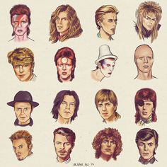 """aky-aky: """" Shapeshifter - Did this illustration of David Bowie in his many wonderful forms. Queen David Bowie, David Bowie Art, Horror Picture Show, Rocky Horror Picture, Bowie Tattoo, Wild Is The Wind, The Thin White Duke, Major Tom, Ziggy Stardust"""