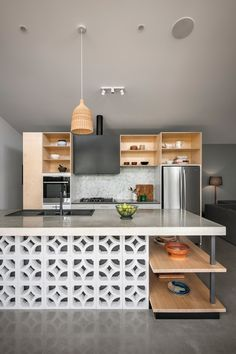A kitchen island by sw-architects; photo by David Sievers. A kitchen island by sw-architects; photo by David Sievers. Contemporary Kitchen Design, Interior Design Kitchen, Kitchen Decor, Contemporary Bedroom, Diy Interior, Interior Styling, Kitchen Ideas, Luxury Kitchens, Cool Kitchens