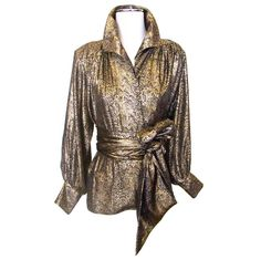 1980's Yves Saint Laurent Silk Metallic Blouse and Tie 1