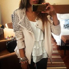 Fashion studded jacket shirt tank top leather clothes studs pretty blouse beige jewels