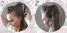 Aprende como hacer crepe con media cola ~ Manoslindas.com Manchester, Eyes, Hair, Beauty, Ponytail Tutorial, Pony Tails, Braids, Cosmetology