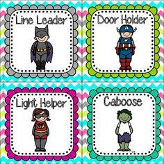 Super Hero Editable Job Cards *Bright Chevron On White* Superhero Kindergarten, Beginning Of Kindergarten, Superhero Classroom Theme, Kindergarten Themes, Classroom Jobs, Beginning Of School, Classroom Displays, Classroom Activities, Preschool Ideas