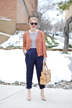 Peach, navy, and white with neutral