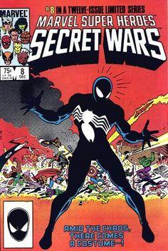 Marvel Super Heroes Secret Wars Vol 1 # 8 :: Portada por Mike Zeck y John Beatty [Primera aparición del traje negro]