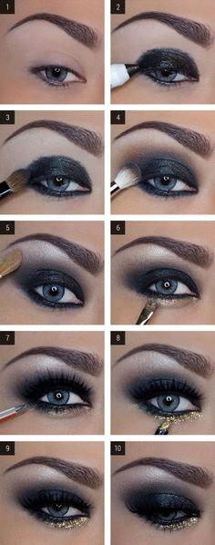 make up guide DAS perfekte Silvester Make-Up! make up glitter;make up brushes guide;make up samples; Dark Eye Makeup, Love Makeup, Skin Makeup, Makeup Eyeshadow, Mac Makeup, Makeup Brushes, Perfect Makeup, Amazing Makeup, Makeup Kit