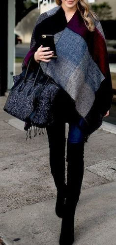 #fall #outfits Printed Cape // Grey Tweed Tote Bag // Skinny Jeans // Black Velvet Knee High Boots