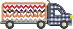 Big Truck APPLIQUE - 4x4, 5x7, 6x10 & 8x11; Includes Satin & ZigZag finishes; Font NOT Included