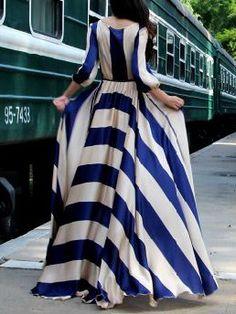 Blue Stripe 3/4 Sleeves Elastic Waist Silky Maxi Dress   Choies