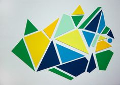 RESERVED FOR ANDY Geometric Paint Chip Art - Blue Green Yellow Triangles- One of a Kind - 8x10 Framed. $35.00, via Etsy.