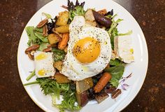 A roasted vegetable salad with feta, toasted pecans, and topped with an egg. A hearty, healthy and delightful dinner salad. Roasted Vegetable Salad, Roasted Vegetables, Roasted Pecans, Pecan Recipes, Summer Dishes, Egg Dish, Dinner Salads, Salad Ingredients, Smoked Paprika