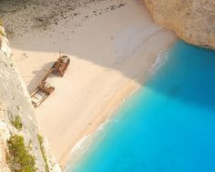 Navagio (the Shipwreck) beach is an exposed cove on the coast of Zakynthos, in the Ionian Islands of Greece and is the location of the wreck of the alleged smuggler ship Panagiotis.