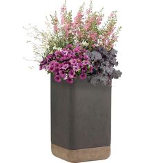 Pride Garden Products Esteras Collection Vasos Square Dark Brown-Cappuccino Tall Fiberglass Planters (Set of 2)-84072 - The Home Depot