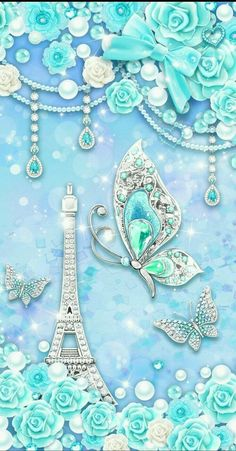 By Artist Unknown. Bling Wallpaper, Paris Wallpaper, Butterfly Wallpaper, Butterfly Art, Screen Wallpaper, Mobile Wallpaper, Flower Art, Paper Butterflies, Beautiful Butterflies