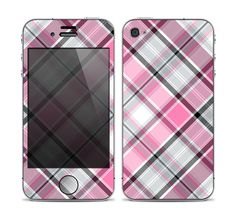 The Black and Pink Layered Plaid V5 Skin for the Apple iPhone 4-4s