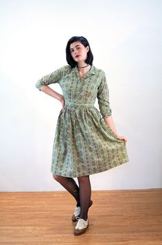 Kerrybrooke 50s Dress M, Green Paisley Dress, Fit N Flare Dress, 50s Cotton Dress, Rockabilly Dress, Midcentury 1950s Dress, Sears Dress