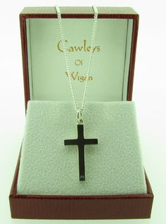 Sterling silver, cross and chain (002136-001217)