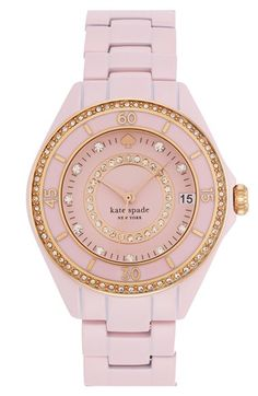 Free shipping and returns on kate spade new york 'seaport grand' crystal enamel bracelet watch, 38mm at Nordstrom.com. Bright crystals light up the dial and bezel of a glamorous round bracelet watch crafted from enamel-plated steel for a silky-smooth finish.