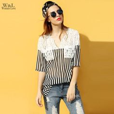 FINEJO Stylish Casual Women T-shirt Loose Medium Sleeve Tshirts Black White Stripe Lace Patchwork V-neck T-shirt Lace Tops