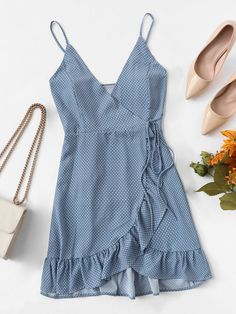 Shop Polka Dot Ruffle Hem Knot Asymmetrical Dress at ROMWE, discover more fashion styles online. Girly Outfits, Cute Summer Outfits, Skirt Outfits, Spring Outfits, Trendy Outfits, Cute Outfits, Fashion Outfits, Fashion Tips, Fashion Trends