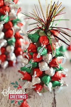 """christmas In the holiday spirit for a festive centerpiece, but aren't super crafty? These """"Kiss""""-mas Tree Centerpieces made with Hershey's Kisses are super easy to make and are a fun project to work on with kiddos! Simple Christmas, All Things Christmas, Beautiful Christmas, Winter Christmas, Christmas Wreaths, Christmas Tree, Cheap Christmas, Christmas Ideas, Office Christmas"""