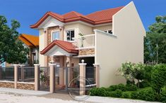 Andres, Two Storey House with Firewall - Pinoy House Designs Two Story House Design, 2 Storey House Design, Small House Design, Dream Home Design, Modern House Design, Four Bedroom House Plans, Two Storey House Plans, Architecture Magazines, Amazing Architecture
