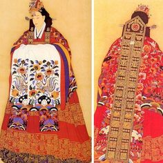 The wedding dress of the Joseon Dynasty period.