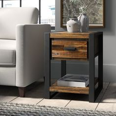 Shop a great selection of Telfair Sled End Table Storage Greyleigh. Find new offer and Similar products for Telfair Sled End Table Storage Greyleigh. End Table Sets, Wood End Tables, End Tables With Storage, Table Storage, Coffee Table With Storage, Metal Furniture, Furniture Design, Western Furniture, Furniture Sale