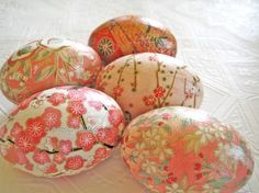 Coral Easter Eggs Peach Easter Eggs Apricot Easter Eggs origami decoupage pink cherry blossom floral