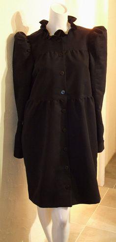 Black Ruffle collar Puff sleeves Coat Dress Gathered Blouse dress Relax fit Boxy Long Shirt Dress Tunic US 8 - US 9 Large COCOdake COuture Long Shirt Dress, Blouse Dress, Coat Dress, Ruffle Collar, Black Ruffle, Puff Sleeves, Couture Collection, Fur Coat, Relax
