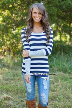 Where I Want To Be Blouse Navy and Grey - The Pink Lily Boutique