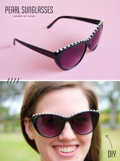 DIY Chanel Inspired Pearl Sunglasses via Sprinkles in Springs