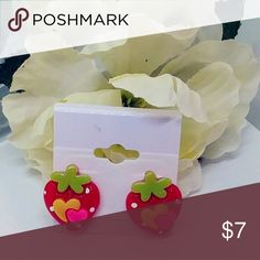 """🆕Cute Kawaii Strawberry Earrings Red Brand new!  Acrylic and surgical steel posts.  Only pair made. .5"""" B23 Jewelry Earrings"""