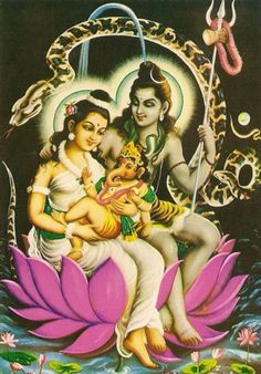 Lord Shiva, Goddess Parvathi, and baby Ganesh Shiva Parvati Images, Shiva Shakti, Shiva Hindu, Baby Ganesha, Lord Ganesha, Indian Gods, Indian Art, Namaste, Religion