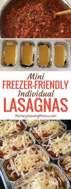 These easy mini individual lasagnas are freezer-friendly and can be made ahead of time! They're perfect for on-the-go lunches or dinners! They also work great for single people, busy schedules, and work/school lunches! Make Ahead Freezer Meals, Freezer Cooking, Easy Meals, Individual Freezer Meals, Budget Cooking, Freezer Friendly Meals, Freezer Dinner, Meals To Freeze, Make Ahead Lunches