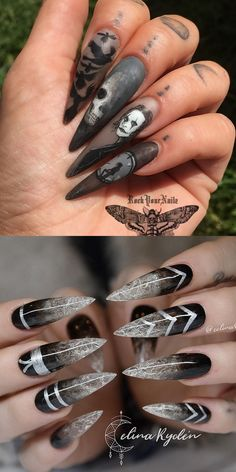 22 Wicked Long Black Nails Cool Girls Should Try! 22 Wicked Long Black Nails Cool Girls Should Try! 22 wicked long black nails cool girls should try Goth Nails, Witchy Nails, Bling Nails, Fun Nails, Skull Nails, Long Black Nails, Black Stiletto Nails, Black Nail Art, White Nails