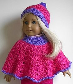 18 Inch Doll Clothes  Crocheted Poncho and Hat in by Lavenderlore
