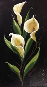 One Stroke Painting Tole Painting Fabric Painting Flower Canvas Flower Art Stained Glass Patterns Calla Lily Art Reference Fantasy Art Easy Flower Painting, Lily Painting, Acrylic Painting Flowers, Fabric Painting, Watercolor Flowers, Flower Art, Watercolor Art, Rock Flowers, Exotic Flowers
