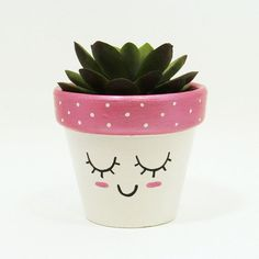 Succulent Planter Terracotta Pot Cute Face Planter Air Plant Holder Plant Pot Flower Pot Indoor Planter Kawaii from TimberlineStudio on Etsy Painted Plant Pots, Painted Flower Pots, Decorated Flower Pots, Pots D'argile, Clay Pots, Flower Pot Crafts, Clay Pot Crafts, Flower Pot Art, Pink Succulent