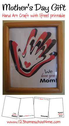 Simple Mothers Day Gift - hand art craft with free printable
