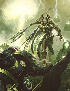 Warhammer 40k:  Necron invasion, defended by ultramarines.