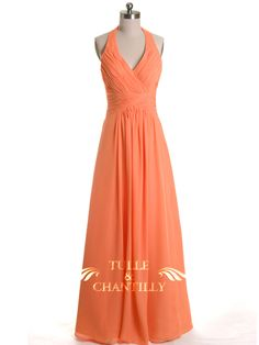 Bright Peach Orange Halter Neck Plicated Bridesmaid Dress