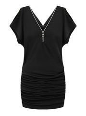 Hollow Out Zips V Neck Bodycon Dress