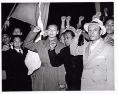 1 Mei viering van de CPN op het IJsclubterrein. Aanhangers van de republiek Indonesië. 1946