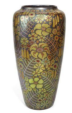 A Zsolnay Pecs eosine glazed ceramic floral vase, circa 1906-1910