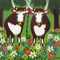 Two Oxen with Spring Flowers by Maud Lewis available at zwickersgallery.ca