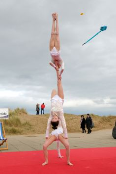 beach side display by South Tyneside gymnastics team, Littlehaven promenade opening day South Shields.